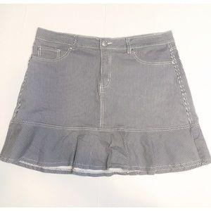 City Chic Denim Mini Skirt with Ruffle